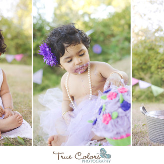First birthday cake smash True Colors Photography