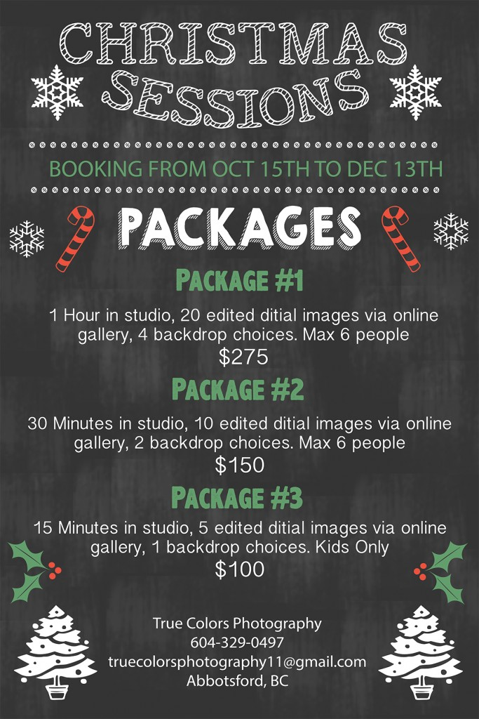 christmas studio photo shoot packages abbotsford photography - Christmas Packages